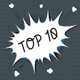 Text sign showing Top 10. Conceptual photo List of most demanding Trending songs movies shows online in order.  royalty free illustration