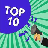 Text sign showing Top 10. Conceptual photo List of most demanding Trending songs movies shows online in order.  stock illustration