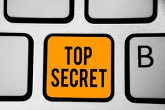 Text sign showing Top Secret. Conceptual photo telling someone important data or information that he cant tell Keyboard orange key. Intention create computer royalty free stock image