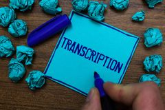 Text sign showing Transcription. Conceptual photo Written or printed process of transcribing words text voice Cyan paper object th. Oughts crumpled papers ideas stock image