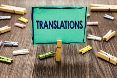 Text sign showing Translations. Conceptual photo Written or printed process of translating words text voice Random clips art work. Board creative nice Royalty Free Stock Photography