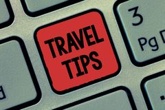 Text sign showing Travel Tips. Conceptual photo Recommendations for a happy journey safe comfortable vacation.  stock photography