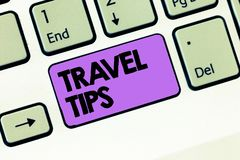 Text sign showing Travel Tips. Conceptual photo Recommendations for a happy journey safe comfortable vacation.  stock image