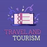 Text sign showing Travel And Tourism. Conceptual photo Temporary Movement of People to Destinations or Locations.  royalty free illustration