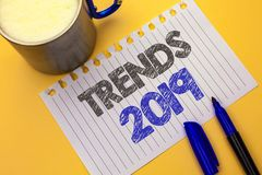 Text sign showing Trends 2019. Conceptual photo Current Movement Latest Branding New Concept Prediction written on Notebook Paper. Text sign showing Trends 2019 stock images