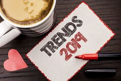 Text sign showing Trends 2019. Conceptual photo Current Movement Latest Branding New Concept Prediction written on Sticky Note on. Text sign showing Trends 2019 royalty free stock photography