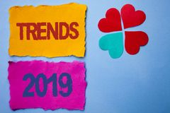 Text sign showing Trends 2019. Conceptual photo Current Movement Latest Branding New Concept Prediction written on Tear Papers on. Text sign showing Trends 2019 royalty free stock photography