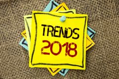 Text sign showing Trends 2018. Conceptual photo Current Movement Latest Modern Branding New Concept Prediction written on Sticky N. Text sign showing Trends 2018 stock images