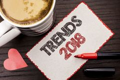 Text sign showing Trends 2018. Conceptual photo Current Movement Latest Modern Branding New Concept Prediction written on Sticky N. Text sign showing Trends 2018 royalty free stock image