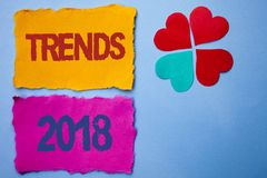 Text sign showing Trends 2018. Conceptual photo Current Movement Latest Modern Branding New Concept Prediction written on Tear Pap. Text sign showing Trends 2018 royalty free stock photography