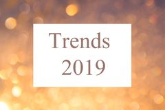 Text sign showing `Trends 2019`. Conceptual photo list of things that got popular very quickly in this year. vector illustration