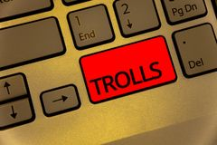 Text sign showing Trolls. Conceptual photo Online troublemakers posting provocative inflammatory messages Keyboard brown key yello royalty free stock photos