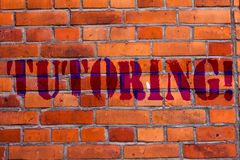 Text sign showing Tutoring. Conceptual photo Mentoring Teaching Instructing Preparing Supporting Give lessons Brick Wall stock photos