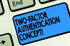 Text sign showing Two Factor Authentication Concept. Conceptual photo two ways of proving your identity Keyboard key. Intention to create computer message royalty free stock photography