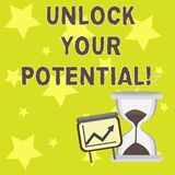 Text sign showing Unlock Your Potential. Conceptual photo Reveal talent Develop abilities Show demonstratingal skills. Text sign showing Unlock Your Potential vector illustration