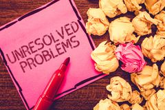 Text sign showing Unresolved Problems. Conceptual photo those Queries no one can answer Unanswerable Questions.  stock image