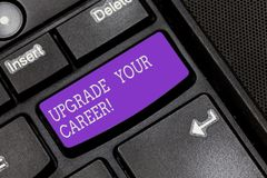 Text sign showing Upgrade Your Career. Conceptual photo improve grade position in work Get increase Money Keyboard key. Intention to create computer message royalty free stock photography