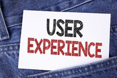 Text sign showing User Experience. Conceptual photo Customer experience feedback web infrastructure development written on Sticky. Text sign showing User Royalty Free Stock Photos