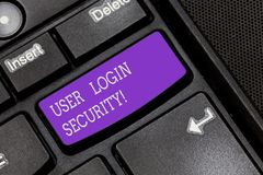 Text sign showing User Login Security. Conceptual photo set of credentials used to authenticate demonstrating Keyboard. Key Intention to create computer message stock image
