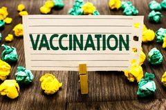 Text sign showing Vaccination. Conceptual photo Treatment which makes the body stronger against infection Clothespin holding noteb. Ook paper crumpled papers royalty free stock photo
