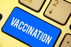 Text sign showing Vaccination. Conceptual photo Treatment which makes the body stronger against infection Keyboard blue key Intent. Ion create computer computing stock photography