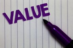 Text sign showing Value. Conceptual photo Something or someone regarded as highly significant valuable Notepad marker pen ideas th. Oughts white paper important Royalty Free Stock Photo