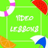 Text sign showing Video Lessons. Conceptual photo Online Education material for a topic Viewing and learning.  Stock Illustration