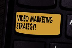 Text sign showing Video Marketing Strategy. Conceptual photo integrates engaging video into marketing campaigns Keyboard