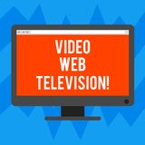 Text sign showing Video Web Television. Conceptual photo television shows hosted on the channel s is websites Blank. Computer Desktop Monitor Color Screen royalty free illustration