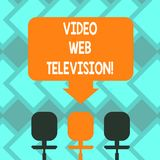 Text sign showing Video Web Television. Conceptual photo television shows hosted on the channel s is websites Blank. Space Color Arrow Pointing to One of the vector illustration