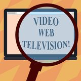 Text sign showing Video Web Television. Conceptual photo television shows hosted on the channel s is websites Magnifying. Glass Enlarging Tablet Blank Color vector illustration
