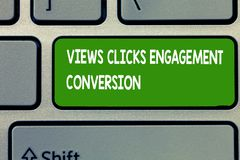 Text sign showing Views Clicks Engagement Conversion. Conceptual photo Social media platform optimization.  royalty free stock photos