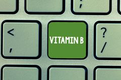 Text sign showing Vitamin B. Conceptual photo Nutrient that helps keep the body nerve and blood cells healthy royalty free stock image