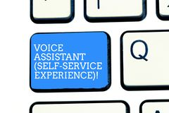 Text sign showing Voice Assistant Self Service Experience. Conceptual photo Artificial intelligence chat bot Keyboard stock photos