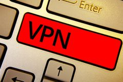 Text sign showing Vpn. Conceptual photo Secured virtual private network across confidential domain protected Keyboard brown keys y stock image