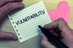 Text sign showing Vulnerability. Conceptual photo Information susceptibility systems bug exploitation attacker Wood nice love colo. Ur hart marker pen art work royalty free stock photos