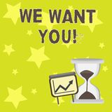 Text sign showing We Want You. Conceptual photo Employee Help Wanted Workers Recruitment Headhunting Employment. Text sign showing We Want You. Business photo royalty free illustration
