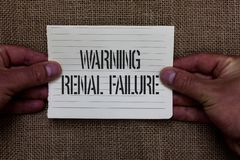 Text sign showing Warning Renal Failure. Conceptual photo stop Filtering Excess Waste Acute Kidney malfunction Man. Holding piece notebook paper jute background royalty free stock photos