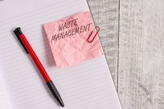 Text sign showing Waste Management. Conceptual photo actions required analysisage rubbish inception to final disposal. Text sign showing Waste Management stock photo