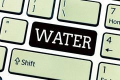 Text sign showing Water. Conceptual photo colourless transparent odourless liquid which forms seas rivers.  stock photos