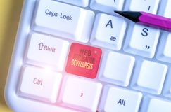 Text sign showing Web Application Developers. Conceptual photo Internet programming experts Technology software White pc