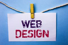 Text sign showing Web Design. Conceptual photo Web Layout Template Responsive Webpage Webdesign Sketch Navigation written on White. Text sign showing Web Design Stock Photography
