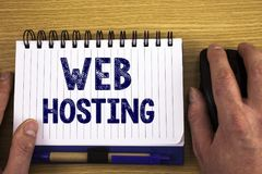 Text sign showing Web Hosting. Conceptual photos Server service that allows somebody to make website accessible stock image