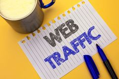 Text sign showing Web Traffic. Conceptual photo Internet Boost Visitors Audience Visits Customers Viewers written on Notebook Pape Stock Photography