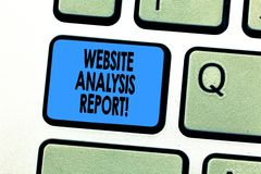 Text sign showing Website Analysis Report. Conceptual photo Process of studying the behavior of website visitors