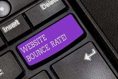 Text sign showing Website Bounce Rate. Conceptual photo Internet marketing term used in web traffic analysis Keyboard. Key Intention to create computer message stock image