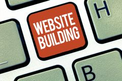 Text sign showing Website Building. Conceptual photo tools that typically allow the construction of pages.  Royalty Free Illustration
