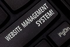 Text sign showing Website Management System. Conceptual photo way to analysisage digital information on a website. Keyboard key Intention to create computer stock images