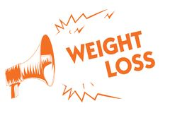 Text sign showing Weight Loss. Conceptual photo Decrease in Body Fluid Muscle Mass Reduce Fat Dispose Tissue Orange megaphone loud. Speaker important message stock illustration