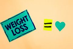 Text sign showing Weight Loss. Conceptual photo Decrease in Body Fluid Muscle Mass Reduce Fat Dispose Tissue Turquoise piece paper. Reminder equal sign heart royalty free illustration